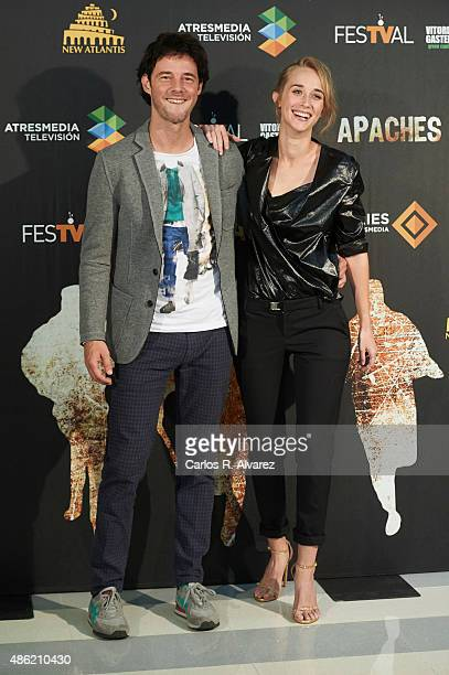 Actor Eloy Azorin and actress Ingrid Garcia Jonsson attend the 'Apaches' photocall during the 7th FesTVal Television Festival 2015 at the Europa...