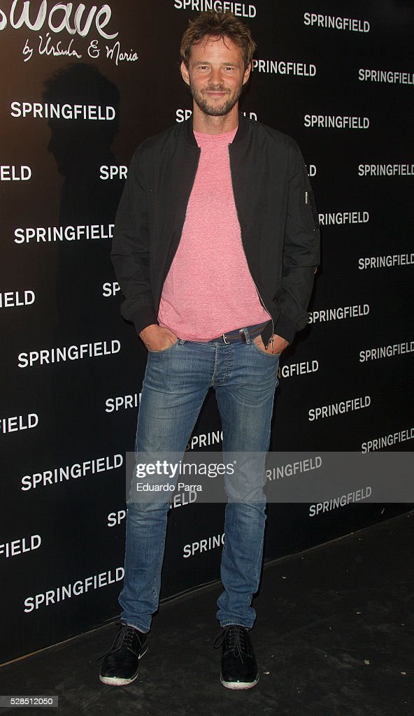 Actor Eloy Azorin attends the Springfield fashion film presentation photocall at Fortuny palace on May 05, 2016 in Madrid, Spain.