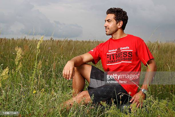 Actor Elyas M'Barek poses for a portrait during the Reebok CrossFit Fitness Championship at Tempelhofer Parc on July 7 2012 in Berlin Germany The...