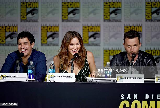 Actor Elyes Gabel actress/singer Katharine McPhee and actor Eddie Kaye Thomas attend CBS TV Studios' panel for 'Scorpion' during ComicCon...