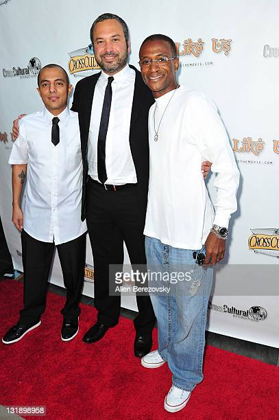 Actor Eman Morgan director Ahmed Ahmed and actor Tommy Davidson arrive at the 'Just Like Us' Los Angeles Premiere at Harmony Gold Theatre on June 6...