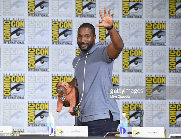 Actor Eme Ikwuakor speaks onstage at Marvel Television Marvel's 'Inhumans' panel at San Diego Convention Center on July 20 2017 in San Diego...