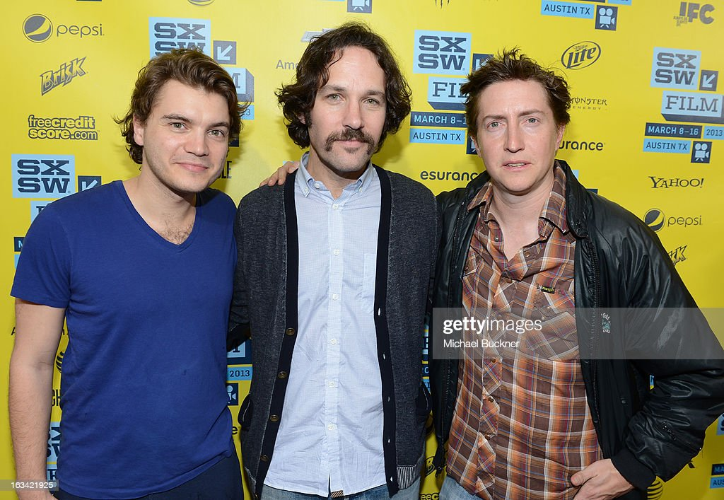 Actor Emile Hirsch actor Paul Rudd and director David Gordon Green arrive to the screening of 'Prince Avalanche' during the 2013 SXSW Music Film...