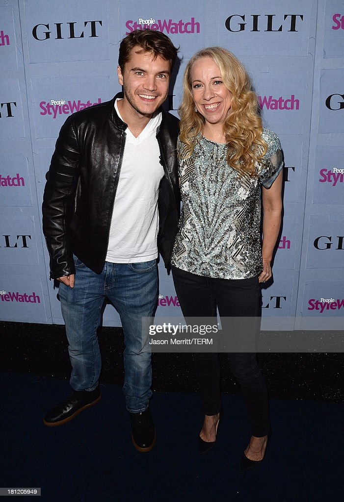 Actor <a gi-track='captionPersonalityLinkClicked' href=/galleries/search?phrase=Emile+Hirsch&family=editorial&specificpeople=210805 ng-click='$event.stopPropagation()'>Emile Hirsch</a> (L) and Editor at People StyleWatch Susan Kaufman attend People StyleWatch Denim Awards presented by GILT at Palihouse on September 19, 2013 in West Hollywood, California.