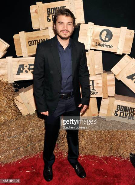 Actor Emile Hirsch attends the AE Premiere Party for 'Bonnie Clyde' at Heath at the McKittrick Hotel on December 2 2013 in New York City