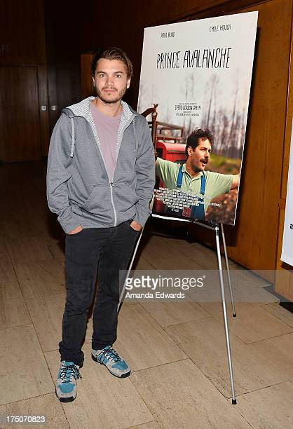 Actor Emile Hirsch attends the Film Independent at LACMA screening and QA of 'Prince Avalanche' at Bing Theatre At LACMA on July 30 2013 in Los...