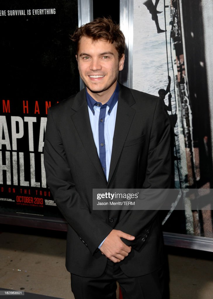 Actor <a gi-track='captionPersonalityLinkClicked' href=/galleries/search?phrase=Emile+Hirsch&family=editorial&specificpeople=210805 ng-click='$event.stopPropagation()'>Emile Hirsch</a> attends the premiere of Columbia Pictures' 'Captain Phillips' at the Academy of Motion Picture Arts and Sciences on September 30, 2013 in Beverly Hills, California.