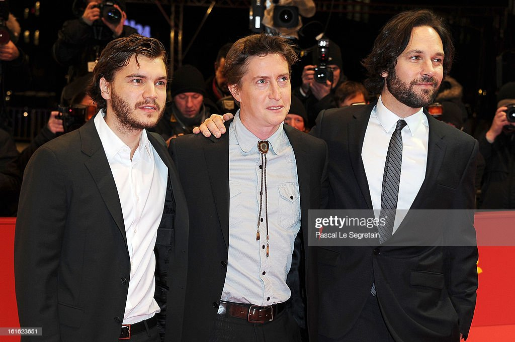 Actor Emile Hirsch director David Gordon Green and actor Paul Rudd attend the 'Prince Avalanche' Premiere during the 63rd Berlinale International...