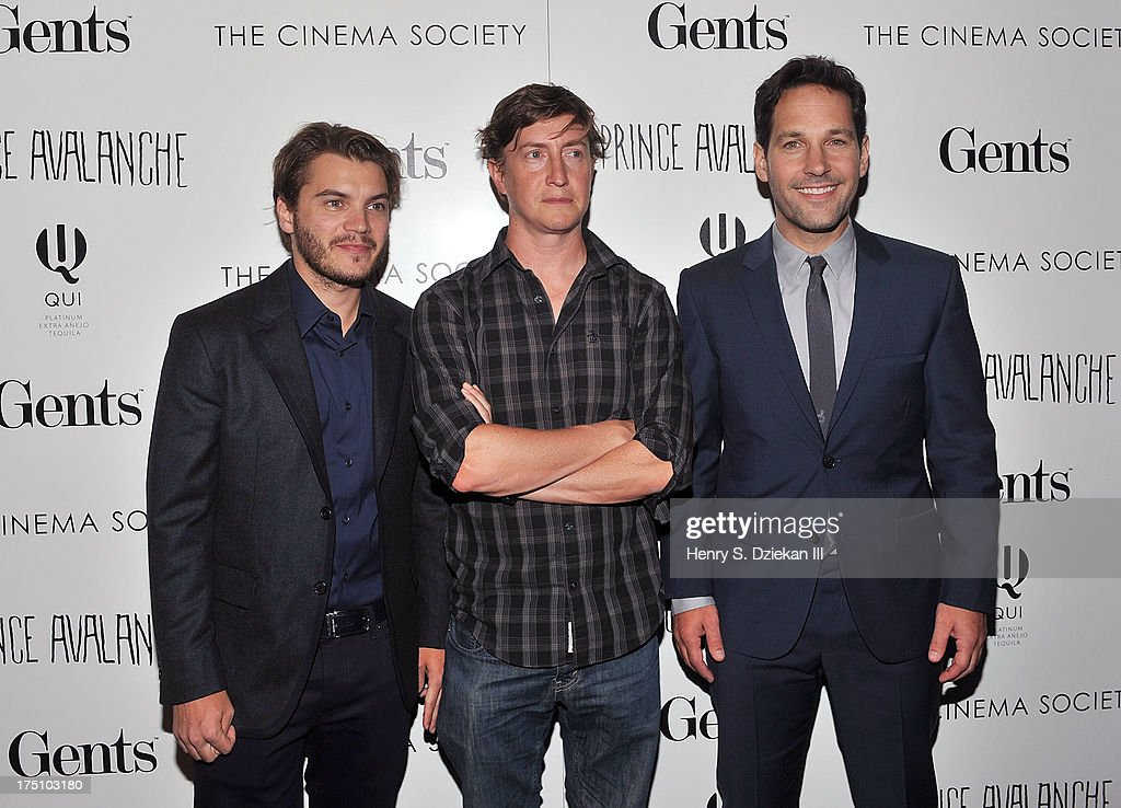 Actor Emile Hirsch director David Gordon Green and actor Paul Rudd attend The Cinema Society and Gents screening of Magnolia Pictures' 'Prince...