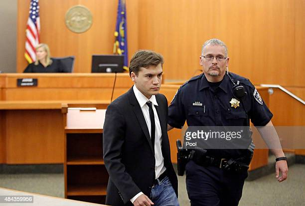 Actor Emile Hirsch is taken in to custody after appearing in court August 17 in Park City Utah Hirsch made a plea deal for misdemeanor assault and...