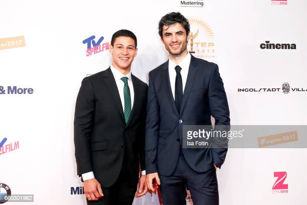 Actor Emilio Sakraya Moutaoukkil and actor Nik Xhelilaj attend the Jupiter Award at Cafe Moskau on March 29 2017 in Berlin Germany