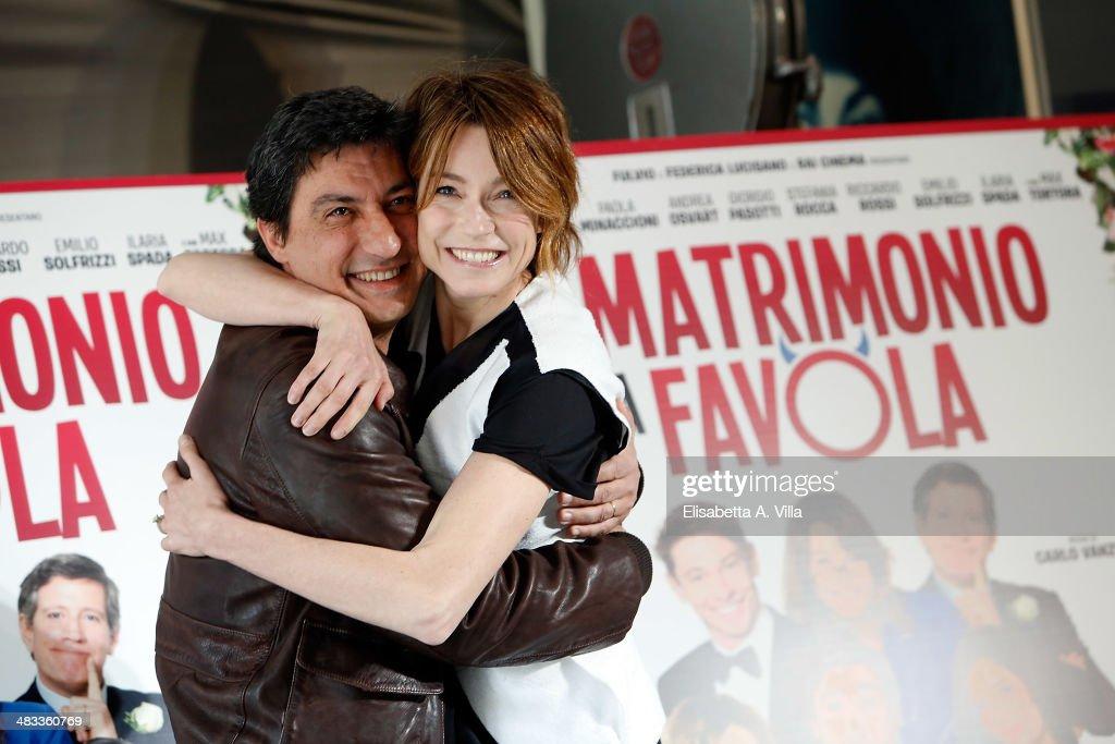Actor Emilio Solfrizzi and actress Stefania Rocca attend 'Un Matrimonio Da Favola' photocall at Cinema Adriano on April 8 2014 in Rome Italy