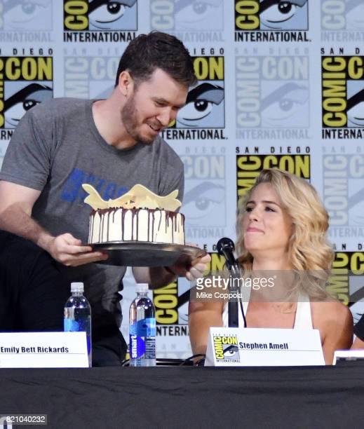 Actor Emily Bett Rickards attends the 'Arrow' Video Presentation And QA during ComicCon International 2017 at San Diego Convention Center on July 22...