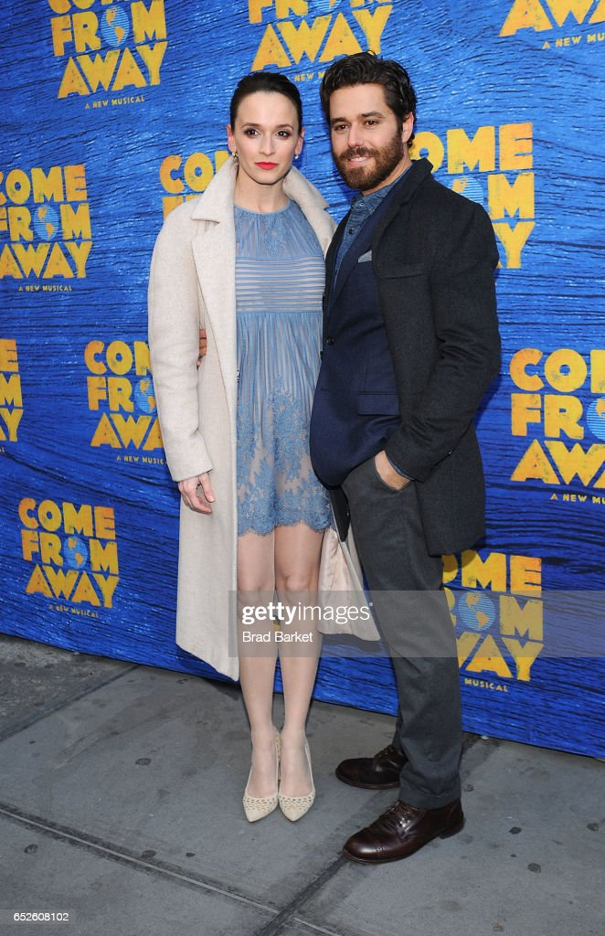 Actor Emily Padgett(L) and Josh Young attend the 'Come From Away' Broadway Opening Night - Arrivals & Curtain Call at Gerald Schoenfeld Theatre on March 12, 2017 in New York City.