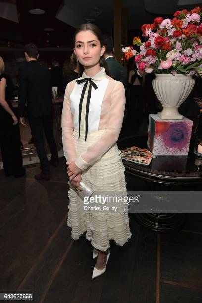 Actor Emily Robinson attends Vanity Fair and L'Oreal Paris Toast to Young Hollywood hosted by Dakota Johnson and Krista Smith at Delilah on February...