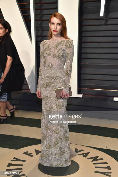 Actor Emma Roberts attends the 2017 Vanity Fair Oscar Party hosted by Graydon Carter at Wallis Annenberg Center for the Performing Arts on February...