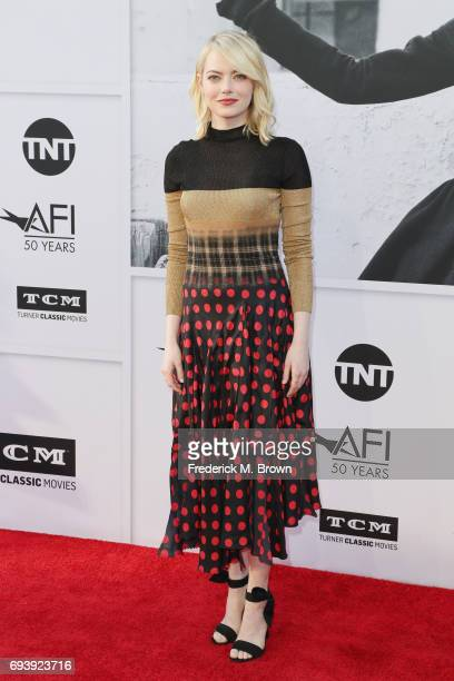 Actor Emma Stone arrives at American Film Institute's 45th Life Achievement Award Gala Tribute to Diane Keaton at Dolby Theatre on June 8 2017 in...