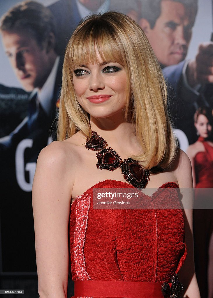 Actor Emma Stone attends the 'Gangster Squad' Los Angeles premiere held at Grauman's Chinese Theatre on January 7, 2013 in Hollywood, California.