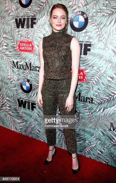 Actor Emma Stone attends the tenth annual Women in Film PreOscar Cocktail Party presented by Max Mara and BMW at Nightingale Plaza on February 24...