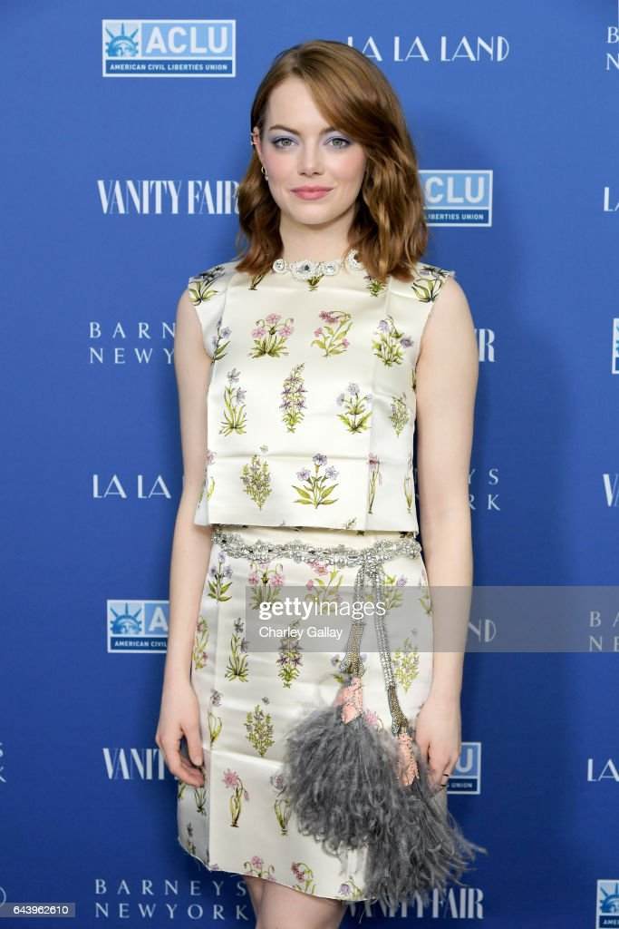 Actor Emma Stone attends Vanity Fair and Barneys New York Private Dinner in Celebration of 'La La Land' at Chateau Marmont on February 22, 2017 in Los Angeles, California.