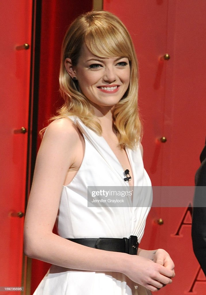 Actor Emma Stone on stage during the 85th Academy Awards Nominations Announcement held at AMPAS Samuel Goldwyn Theater on January 10, 2013 in Beverly Hills, California.