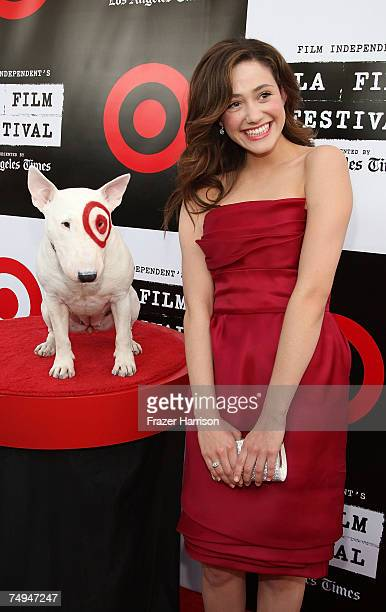 Actor Emmy Rossum poses with Bullseye the Target dog at the Los Angeles Film Festival 2007 Spirit Of Independence Award Ceremony Honoring Clint...