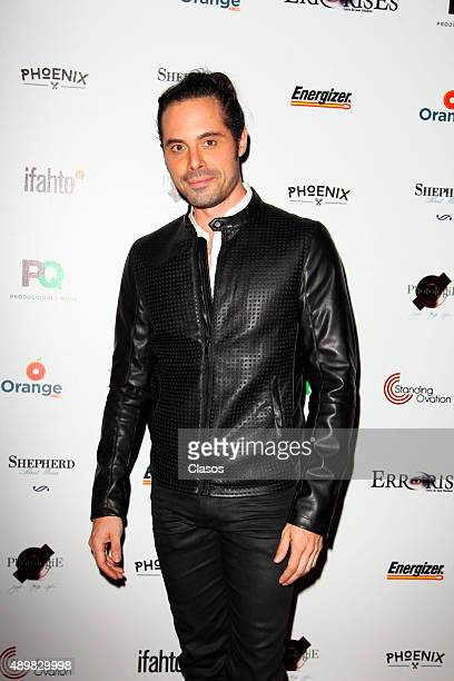 Actor Enrique del Olmo poses for pictures during the red carpet of the Pxndx band musical ErrorisEs at Rafael Solana Theatre on Seoptember 25 2015 in...