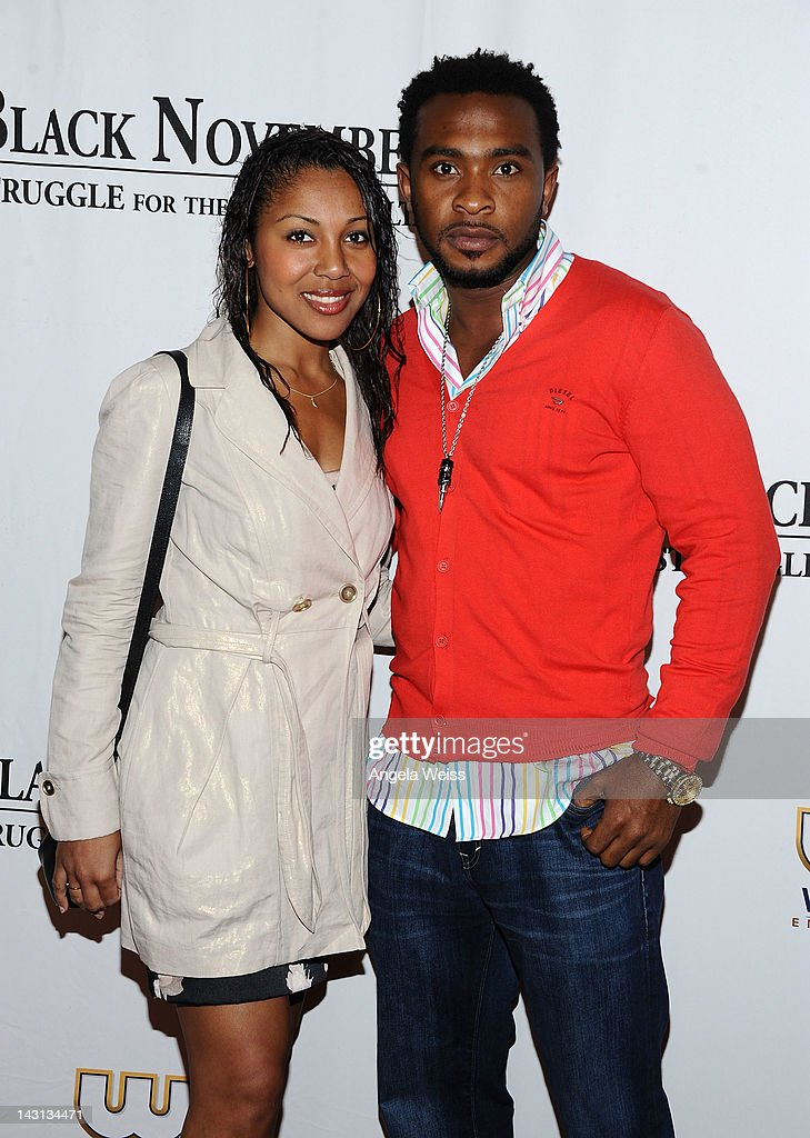 Actor Enyinna Nwigwe (R) and Noura attend the 'Black November' screening on April 18, 2012 in Beverly Hills, California.