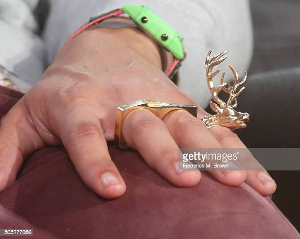 Actor Eric Andre jewelry detail speaks onstage during the 'Man Seeking Woman' panel discussion at the FX portion of the 2015 Winter TCA Tour at the...