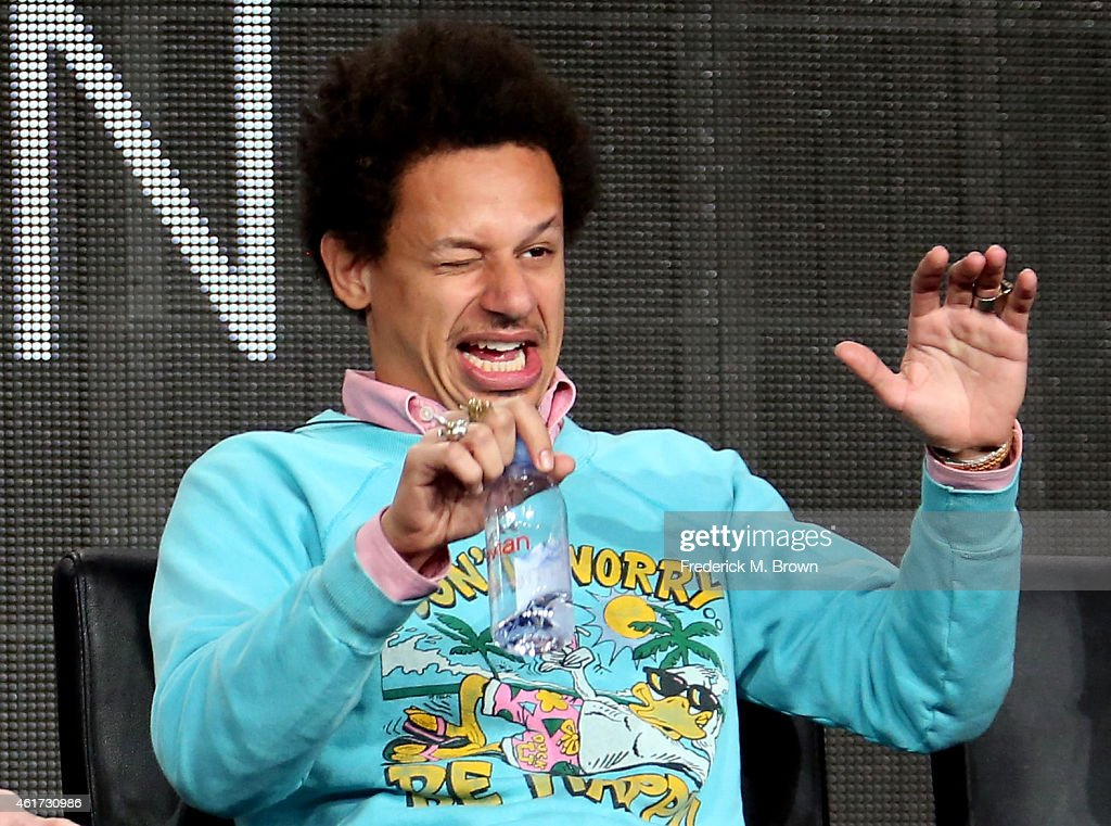 Actor Eric Andre speaks onstage during the 'Man Seeking Woman' panel discussion at the FX Networks portion of the Television Critics Association press tour at Langham Hotel on January 18, 2015 in Pasadena, California.