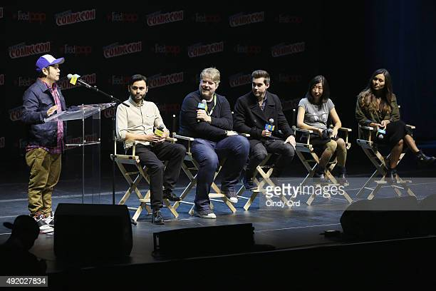Actor Eric Bauza Director Adam Muto Actor John DiMaggio Actor Jeremy Shada Animator Niki Yang and Actress Olivia Olson speak at the Cartoon Network...