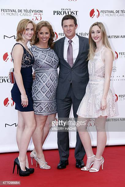 US actor Eric Close and his wife Keri pose with relatives during the opening ceremony of the 55th MonteCarlo Television Festival on June 13 in Monaco...