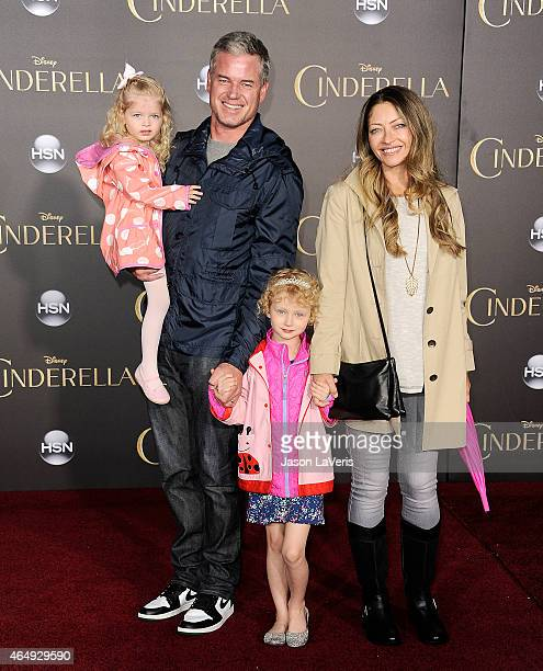 Actor Eric Dane actress Rebecca Gayheart and children Billie Dane and Georgia Dane attend the premiere of 'Cinderella' at the El Capitan Theatre on...