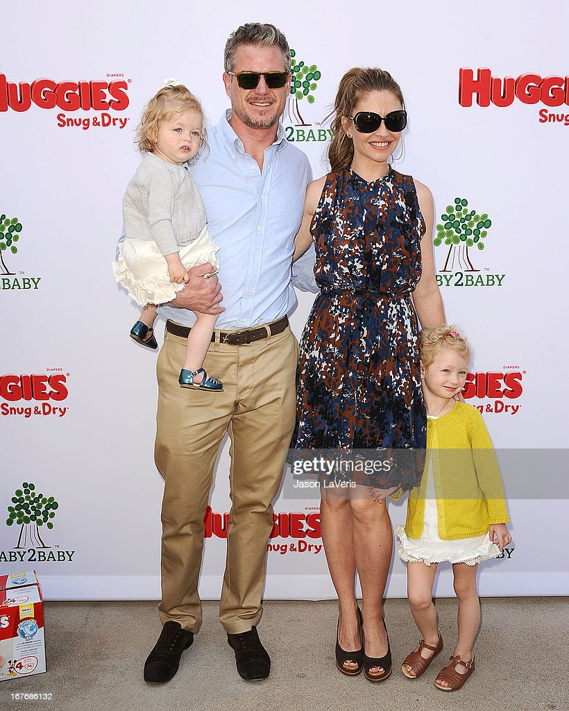 Actor Eric Dane, actress Rebecca Gayheart and daughters Billie Beatrice Dane (R) and Georgia Geraldine Dane (L) attend the Baby2Baby Mother's Day garden party on April 27, 2013 in Los Angeles, California.