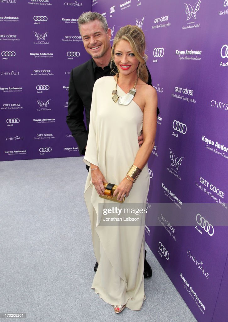 Actor <a gi-track='captionPersonalityLinkClicked' href=/galleries/search?phrase=Eric+Dane&family=editorial&specificpeople=707708 ng-click='$event.stopPropagation()'>Eric Dane</a> and Chrysalis Co-Chair <a gi-track='captionPersonalityLinkClicked' href=/galleries/search?phrase=Rebecca+Gayheart&family=editorial&specificpeople=204784 ng-click='$event.stopPropagation()'>Rebecca Gayheart</a>-Dane (fashion detail) arrive at the 12th Annual Chrysalis Butterfly Ball on June 8, 2013 in Los Angeles, California.