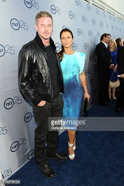 Actor Eric Dane and Rhona Mitra attend TNT 25TH Anniversary Party during Turner Broadcasting's 2013 TCA Summer Tour at The Beverly Hilton Hotel on...