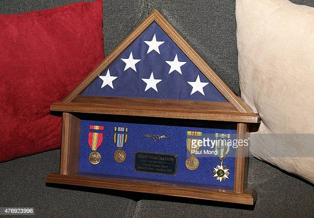 Actor Eric Dane's Shadow Box containing Navy medals earned by his father presented to him at the TNT 'The Last Ship' Washington DC Screening at The...