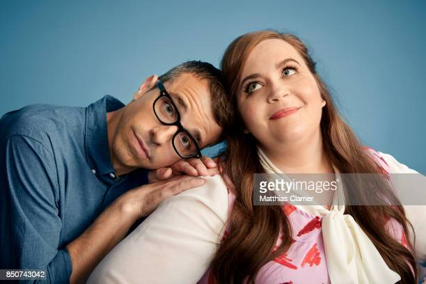 Actor Eric Knobel and actress Aidy Bryant from Danger Eggs are photographed for Entertainment Weekly Magazine on July 22 2017 at Comic Con in San...