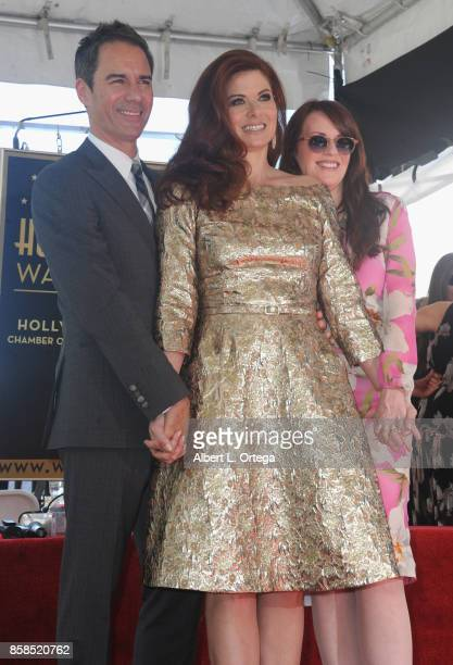 Actor Eric McCormack actress Mariska Hargitay and actress Megan Mullally attend Debra Messing Star Ceremony on The Hollywood Walk Of Fame held on...