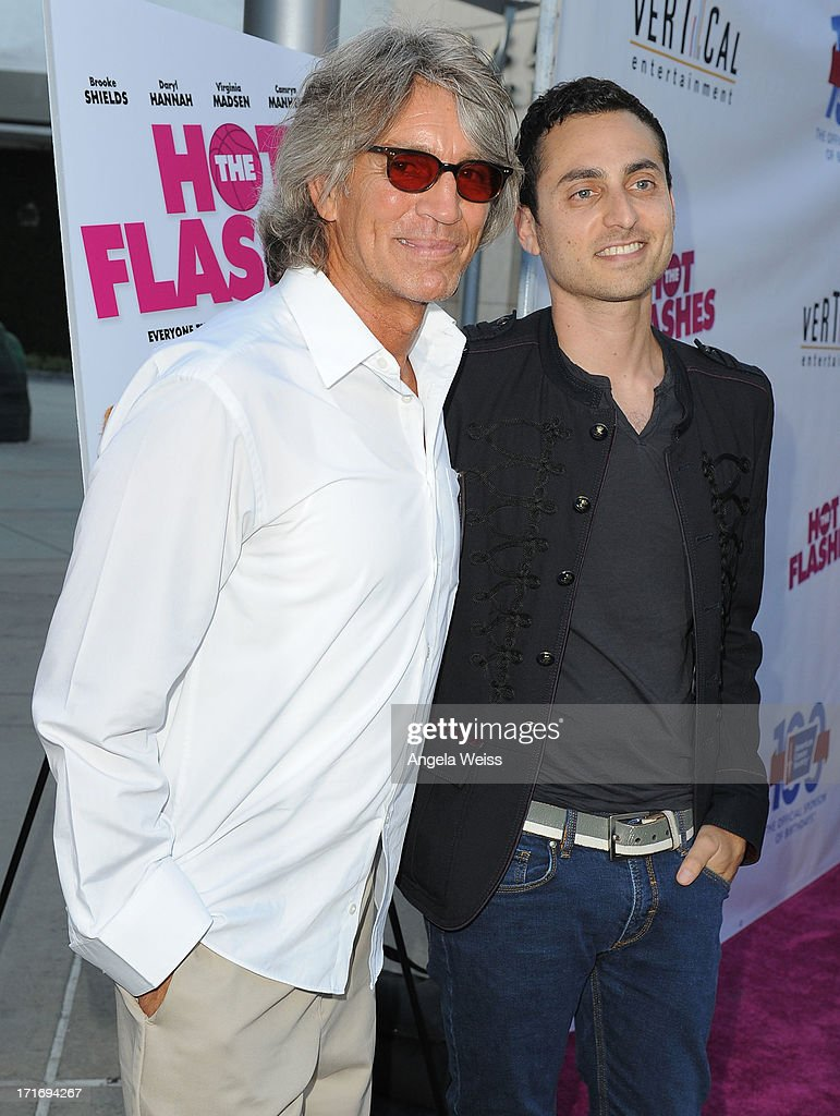 Actor Eric Roberts and stepson recording artist Keaton Simons arrive at the premiere of 'The Hot Flashes' at ArcLight Cinemas on June 27, 2013 in Hollywood, California.
