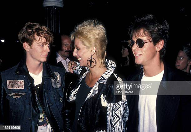 Actor Eric Stoltz singer/actress Cher and actor C Thomas Howell attend the 'Grandview USA' Beverly Hills Premiere on July 23 1984 at Academy Theatre...