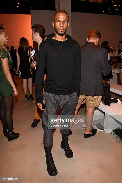 Actor Eric West attends the Nicholas K fashion show during Spring 2016 New York Fashion Week The Shows at The Gallery Skylight at Clarkson Sq on...
