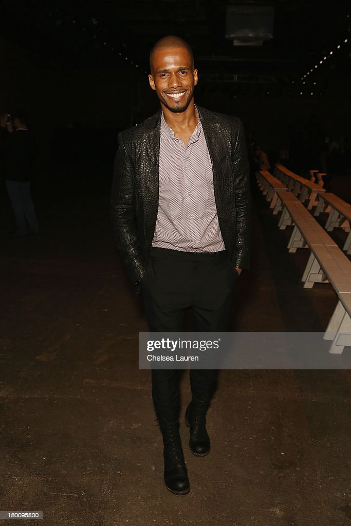 Actor Eric West attends the Ricardo Seco fashion show during Mercedes-Benz Fashion Week Spring 2014 at Eyebeam Studio on September 8, 2013 in New York City.