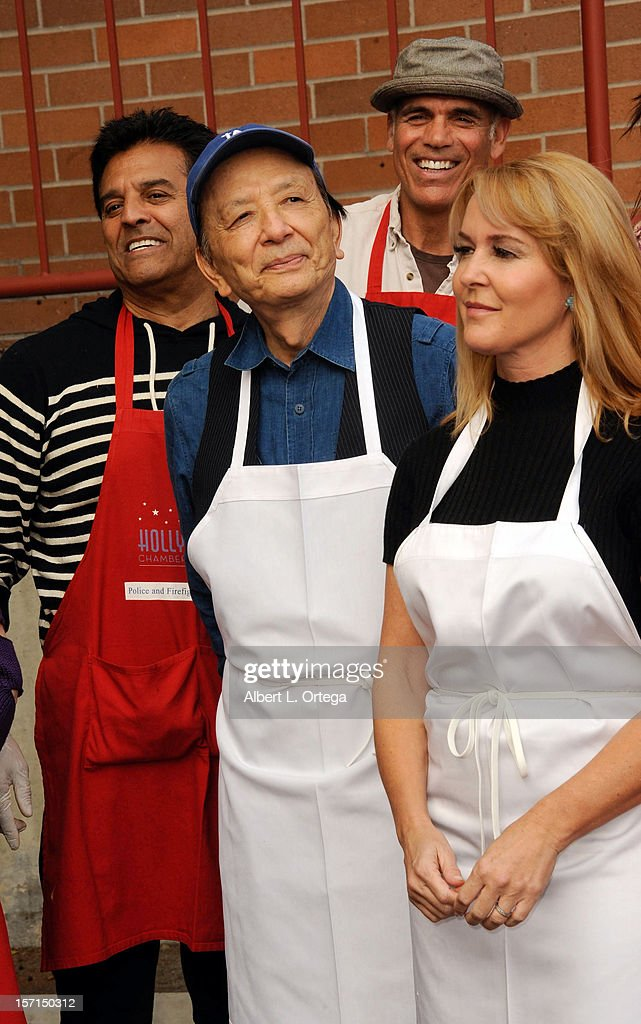 Actor Erik Estrada, actor James Hong, actor Greg Collins and actress Erin Murphy participate in the Hollywood Chamber of Commerce's annual police and firefighters appreciation day at the Hollywood LAPD station on November 28, 2012 in Hollywood, California.