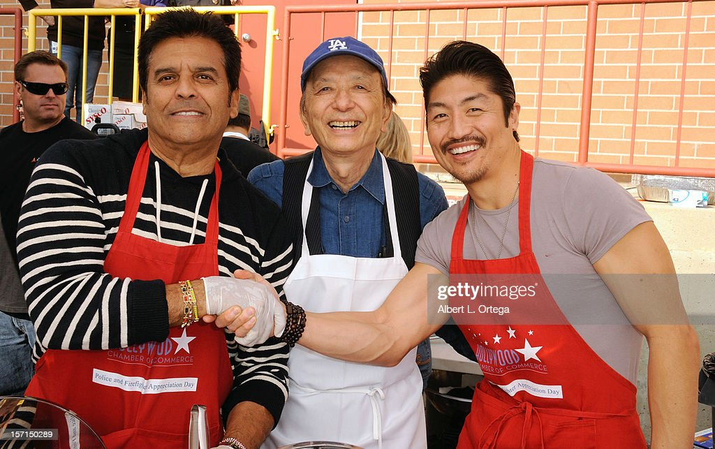 Actor Erik Estrada, actor James Hong and actor Brian Tee participate in the Hollywood Chamber of Commerce's annual police and firefighters appreciation day at the Hollywood LAPD station on November 28, 2012 in Hollywood, California.