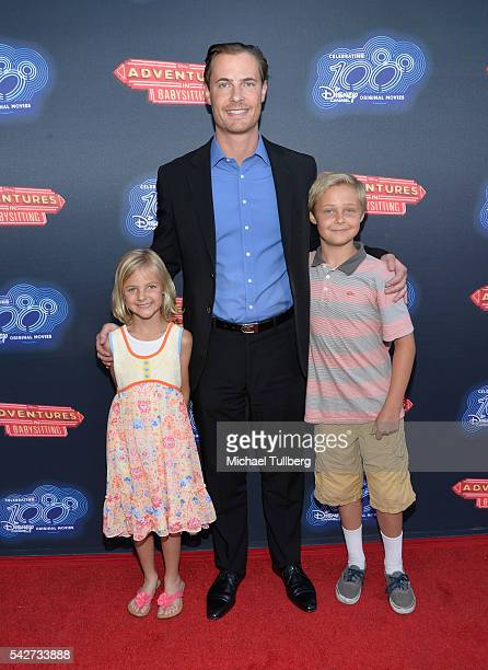 Actor Erik Von Detten with his niece and nephew attend the premiere of 100th Disney Channel's Original Movie 'Adventures In Babysitting' and...
