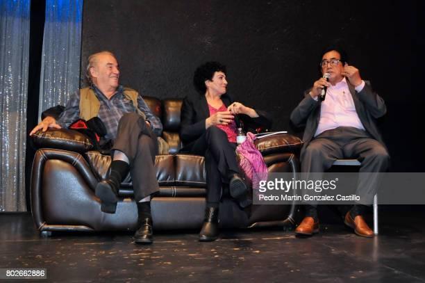 Actor Ernesto Gómez Cruz speaks next to Actor Oscar Chávez and actress Julia Isabel de Llano Macedo during the 50th Anniversary event of 'Los...