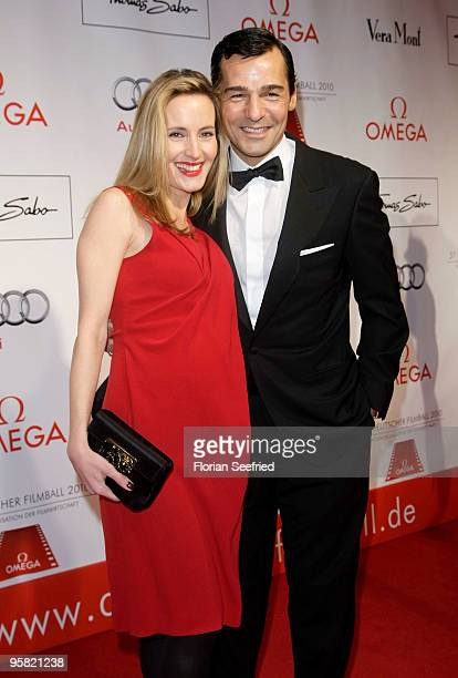 Actor Erol Sander and wife Caroline Goddet attend the 37th German Filmball 2010 at the Hotel Bayerischer Hof on January 16 2010 in Munich Germany