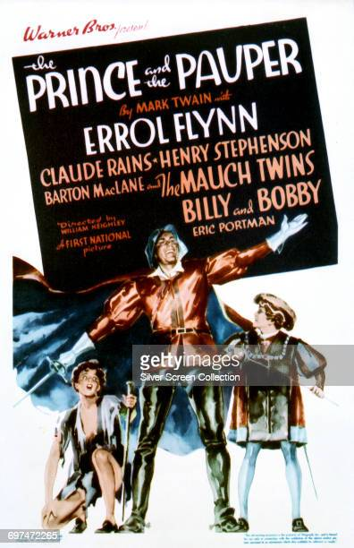 Actor Errol Flynn as Miles Hendon with twins Billy and Bobby Mauch as King Edward VI and Tom Canty on a poster for the Warner Bros film 'The Prince...
