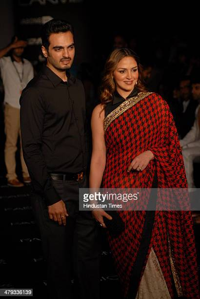 Actor Esha Deol with her husband Bharat Takhtani during Lakme Fashion Week summer/resort 2014 on March 16 2014 in Mumbai India